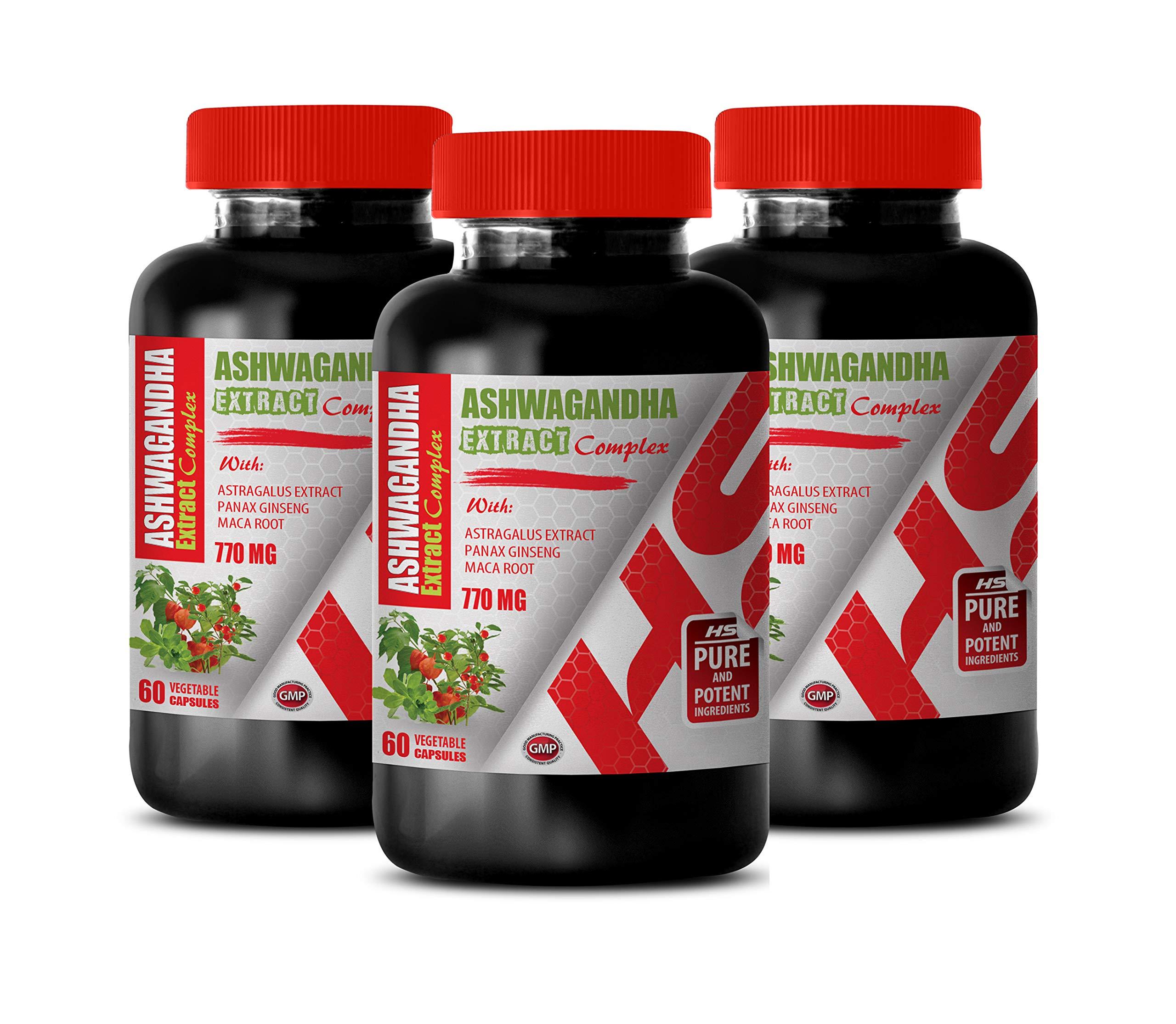 Memory Supplement for Brain - ASHWAGANDHA Extract 770MG Complex - ashwagandha multivitamin - 3 Bottles 180 Capsules