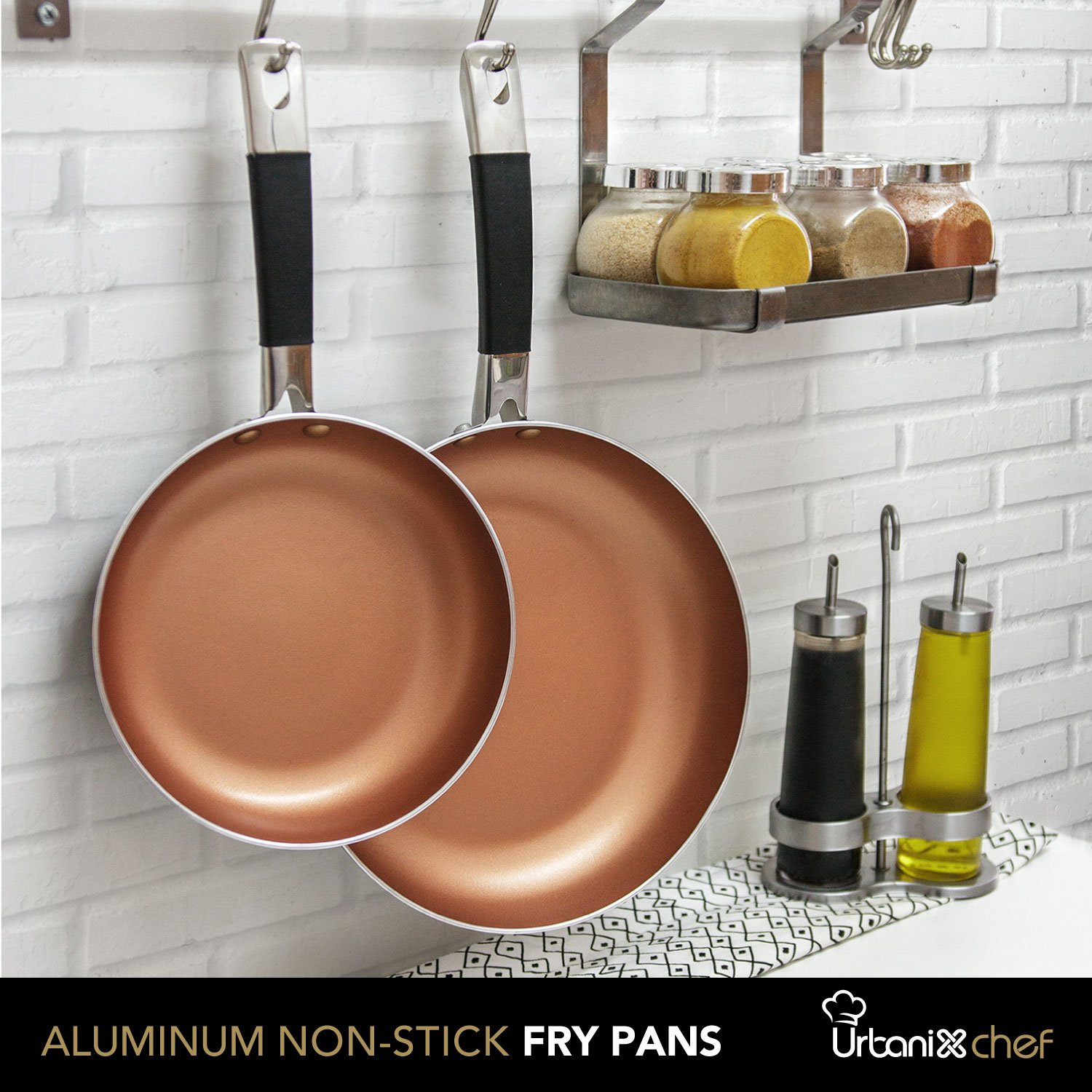 UrbanixChef Frying Pans . Superior German Greblon Non-stick Coating Copper Color. 2 Pcs - 8 and 10 Inch.100% PFOA Free,Induction Compatible , Oven Safe.  Bonus 3 pc.11 Inch Pan Protectors by URBANIX (Image #6)