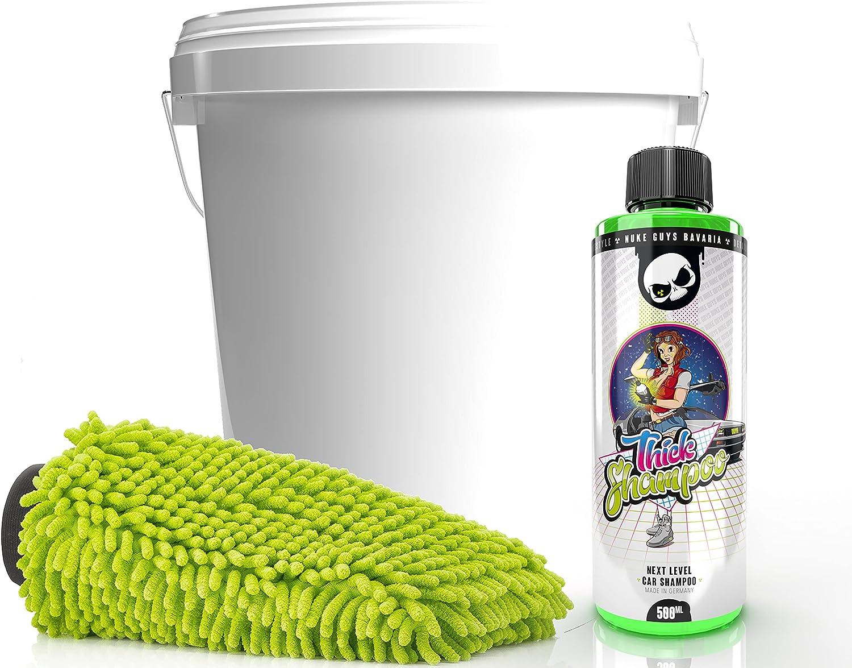 detailmate Nuke Guys - Juego de lavado y cuidado para el coche (champú Nuke Guys Thick de 500 ml, cubo de lavado detallado, tapa y guante de lavado detallado)