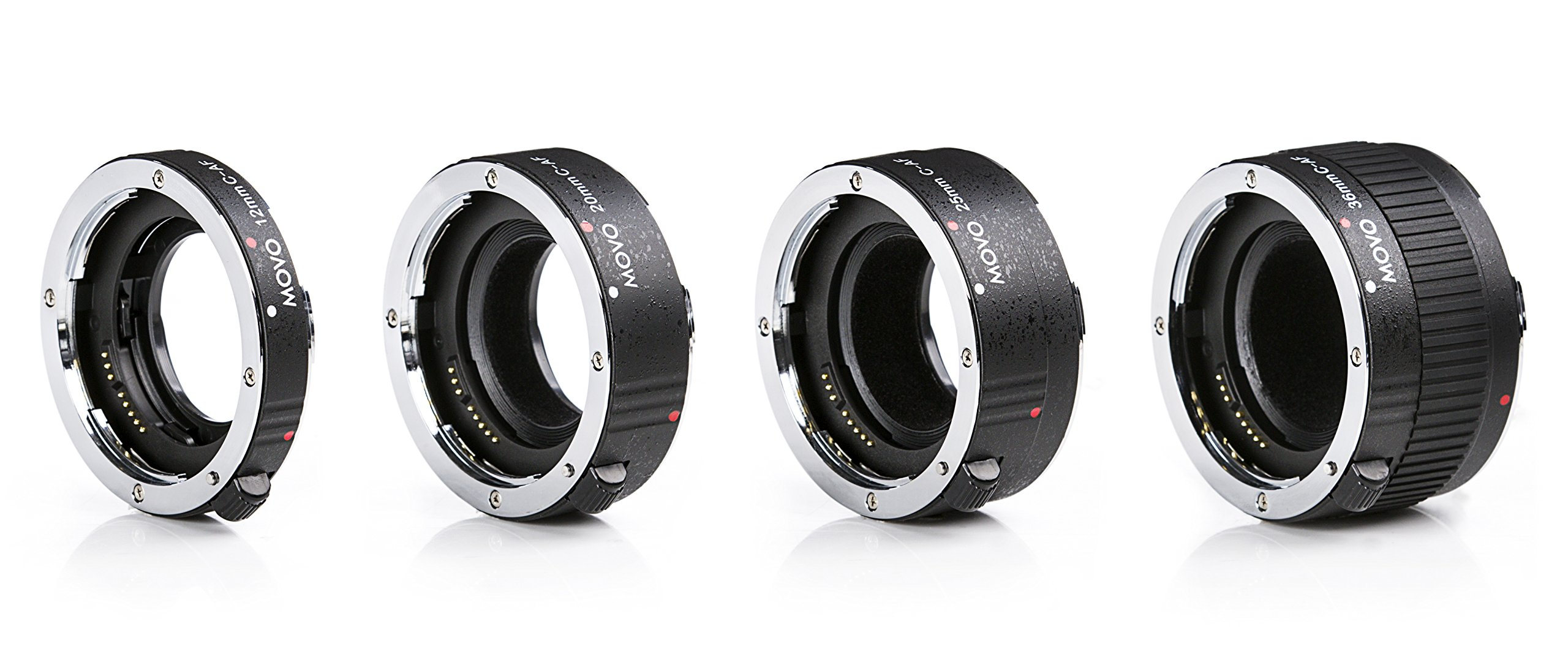 Movo MT-C93 4-Piece AF Chrome Macro Extension Tube Set for Canon EOS DSLR Camera with 12mm, 20mm, 25mm, 36mm Tubes by Movo
