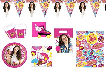 Soy Luna - Juego de vajilla de Fiesta de cumpleaños para 6-8 niños: Amazon.es: Juguetes y juegos