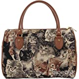 Signare Womens Fashion Canvas Tapestry Travel Weekend Overnight Bag in Cat Design