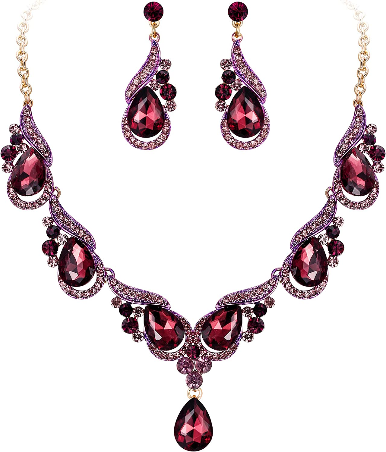EVER FAITH Women's Wedding Jewelry Crystal Luxury Floral Wave Spindrift Waterdrop Necklace Earrings Set