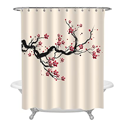 MitoVilla Japanese Cherry Blossom Bathroom Accessories For Home Decor Classic Asian Watercolor Shower Curtain With