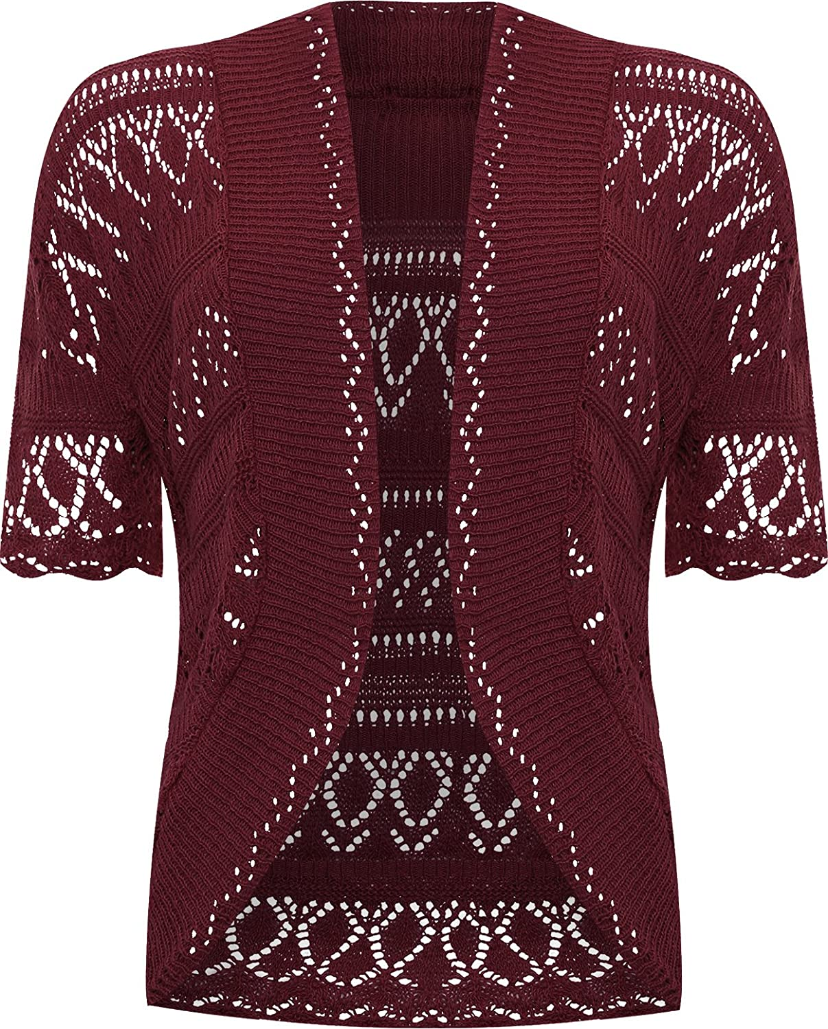 WearAll Plus Size Womens Crochet Knitted Short Sleeve Ladies Shrug Cardigan Top - 20-26 60228