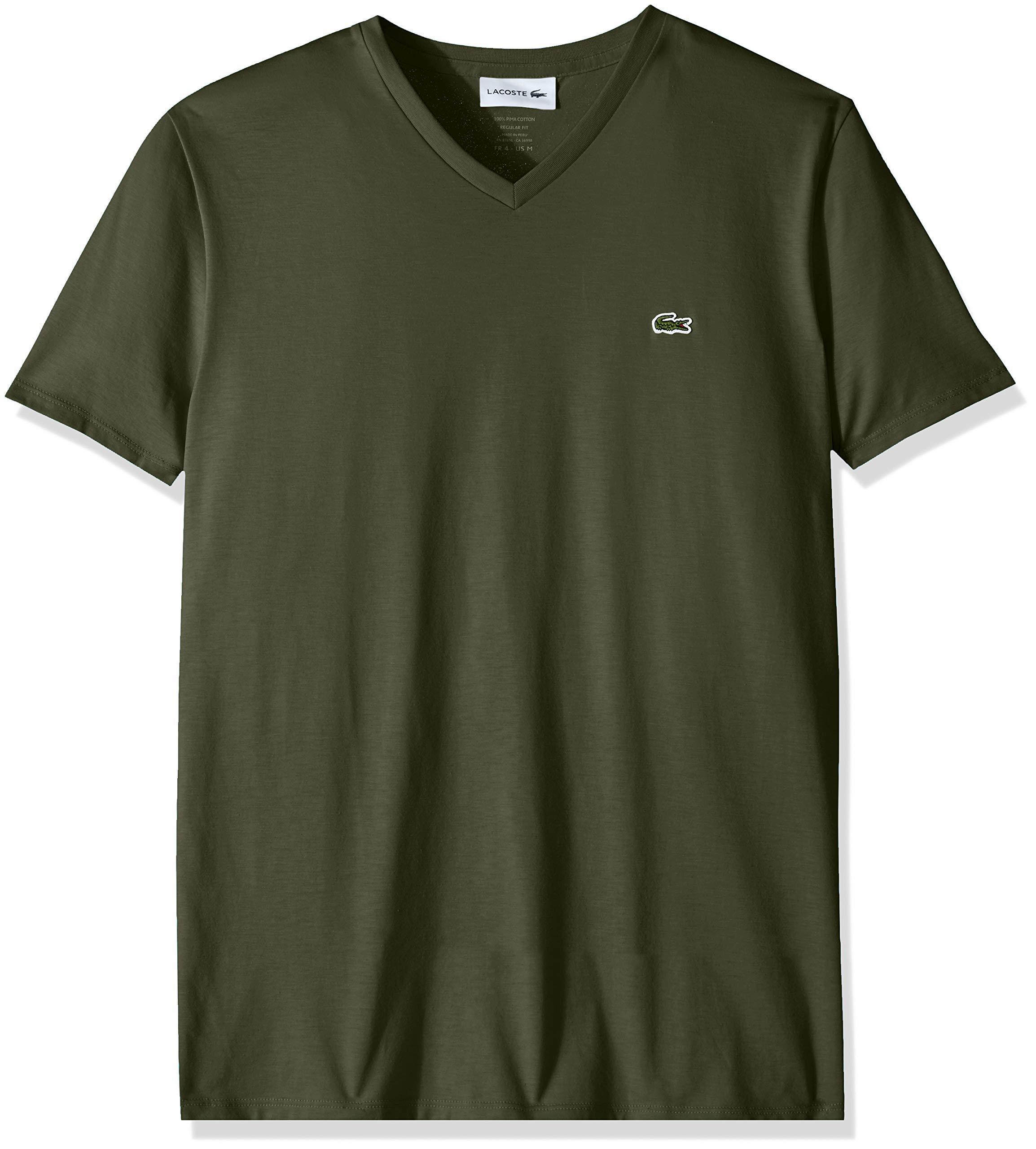 Lacoste Men's S/S V Neck PIMA Jersey T-Shirt, Caper