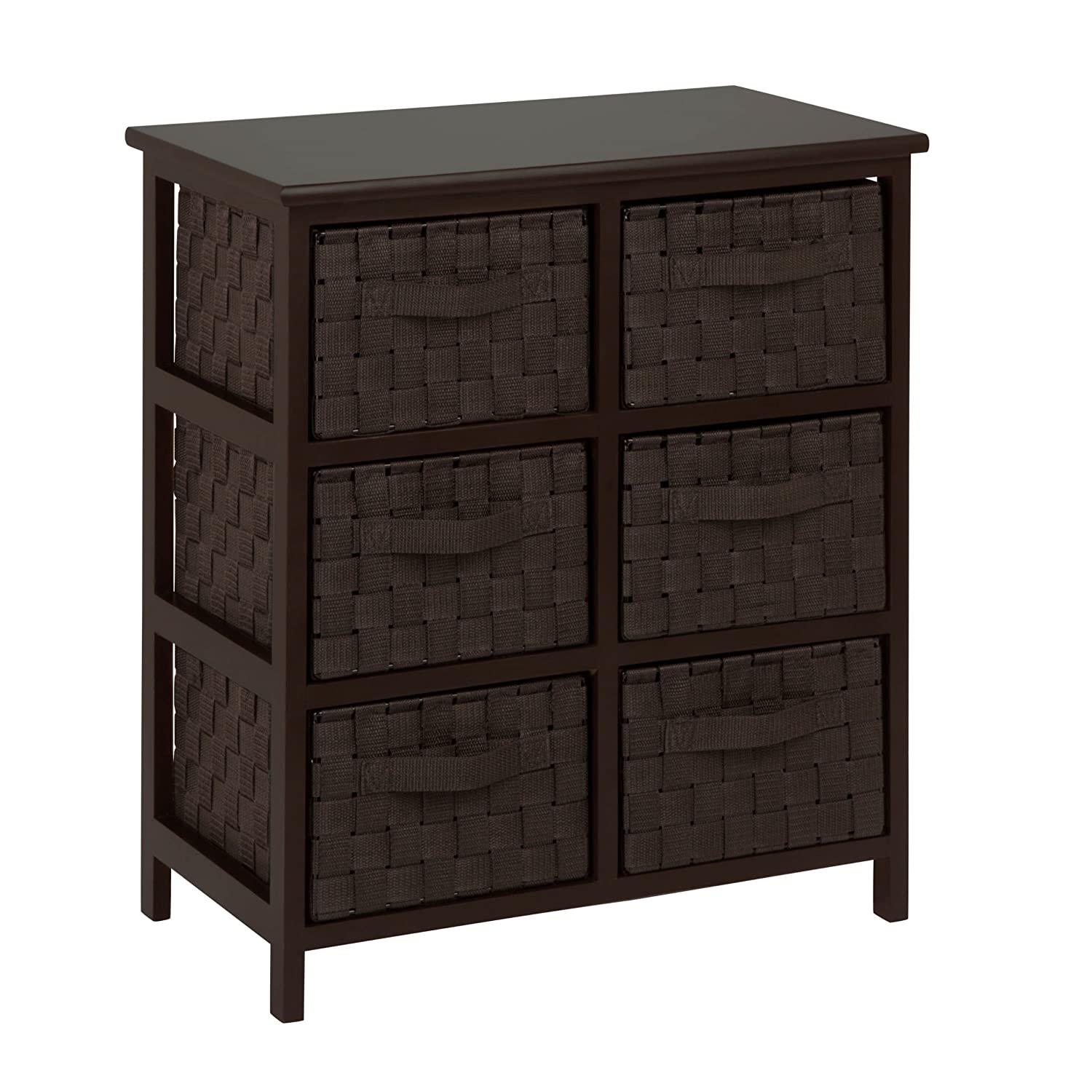 Espresso Black Honey-Can-Do TBL-03758 6-Drawer Storage Chest with Woven-Strap Fabric, Brown, 24-Inch