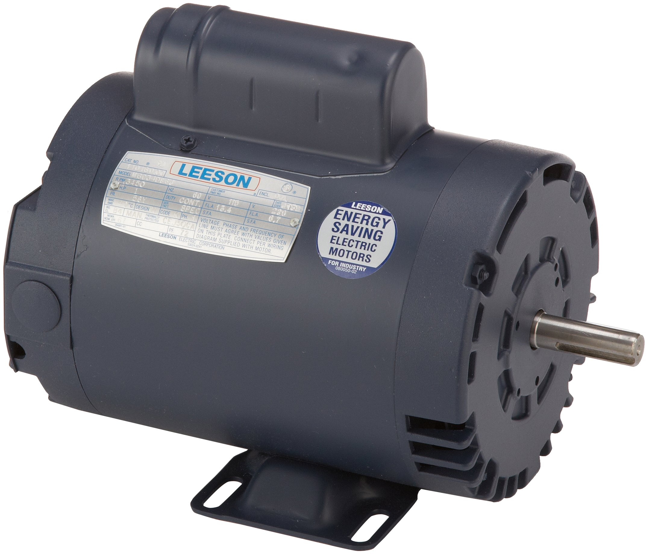 Leeson 110160.00 Compressor Duty ODP Motor, 1 Phase, 56Y Frame, Rigid Mounting, 1HP, 3600 RPM, 115/230V Voltage, 60Hz Fequency
