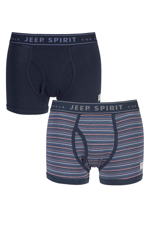 Jeep Mens 2 Pack Spirit Jacquard Waistband Keyhole Trunks