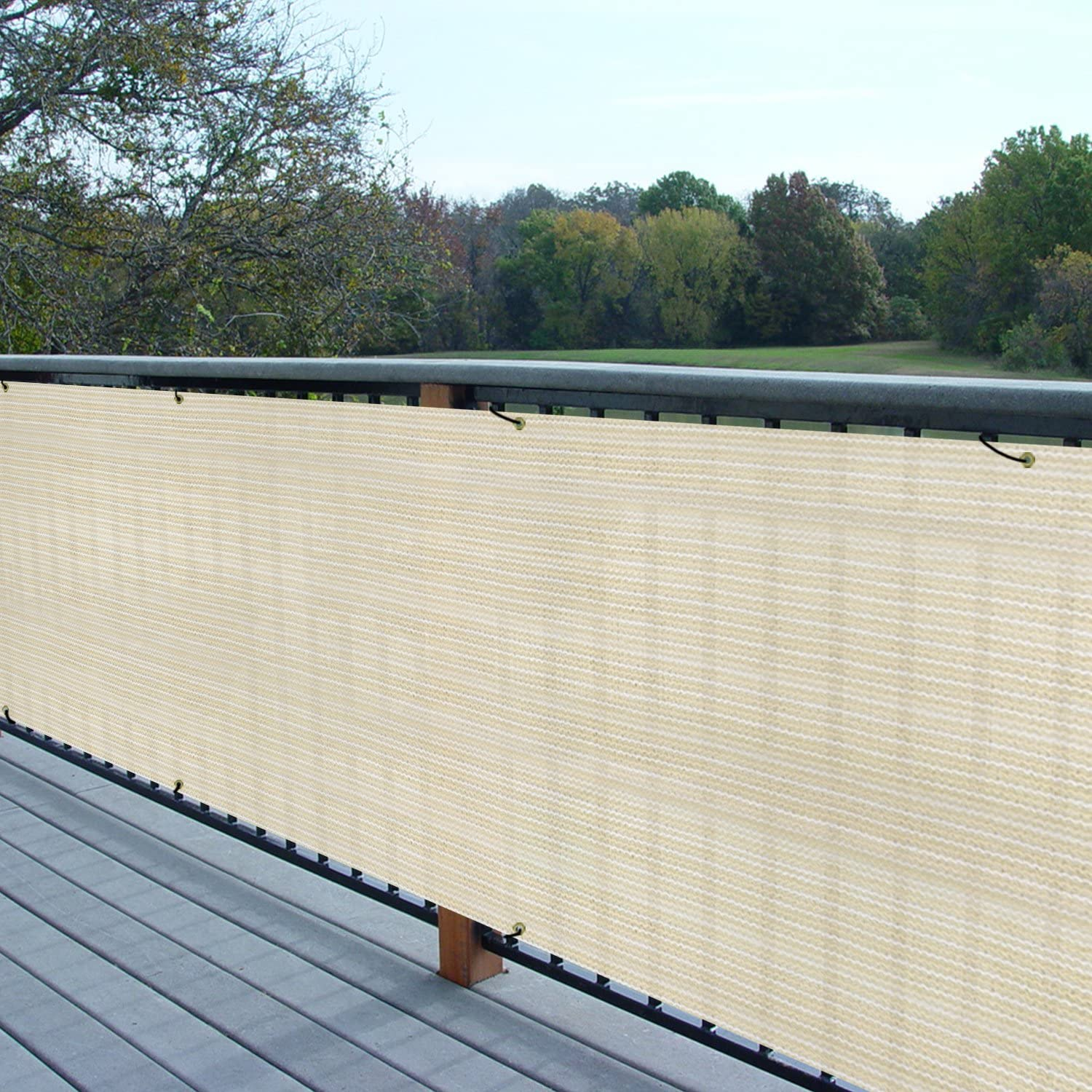 Beige 8 x 1 Commercial Outdoor Backyard Porch Deck Shade Windscreen Mesh Fabric 90/% Beockage 8 Years Warranty Customized E/&K Sunrise Fence Privacy Screen with Zipties
