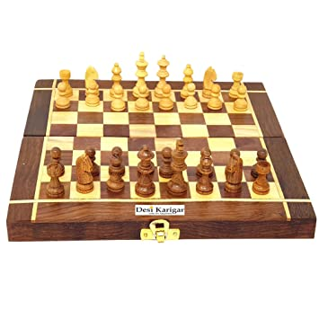 Desi Karigar Folding Wooden Chess Board Set Game Handmade Small Chess Pieces 10 Inches (Non - Magnetic)