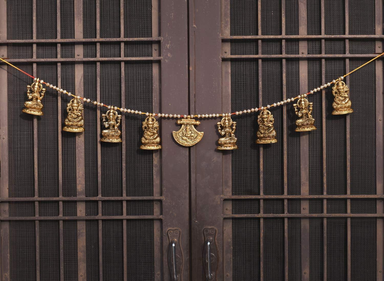 Collectible India Metal Door Hanging Toran Bandarwal for Home Decoration/Lakshmi Ganesha Toran Mandir Temple (35 x 3.5 inch, Gold)