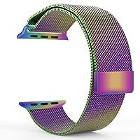 Jasinber Milanese Loop Correa de Acero Inoxidable Reemplazo de Banda de la Muñeca con Cerradura Magnética para 38mm Apple Watch Series 1/2/3 (Vistoso)