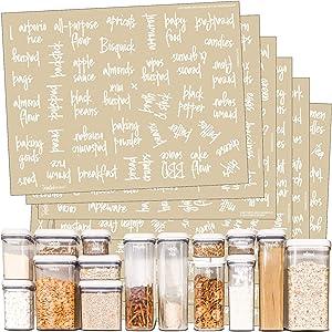 Talented Kitchen 375 White Script Pantry Labels –Medium Size Labels– Food Label Sticker, Water Resistant. Preprinted Stickers Decals Jars Pantry Organization Storage (Set of 375 –Medium Script Pantry)
