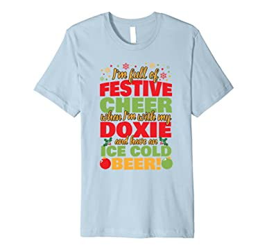 Mens Christmas TShirt Festive Cheer Doxie Beer! 2XL Baby Blue