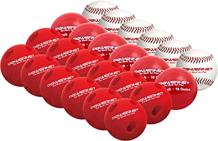 Amazon Com Powernet Training Balls Bundle 6 Baseballs 6 2 8 Weighted Balls 12 Crushers Perfect For Baseball Soft Toss Batting Fielding Or Hitting Balls Only Sports Outdoors