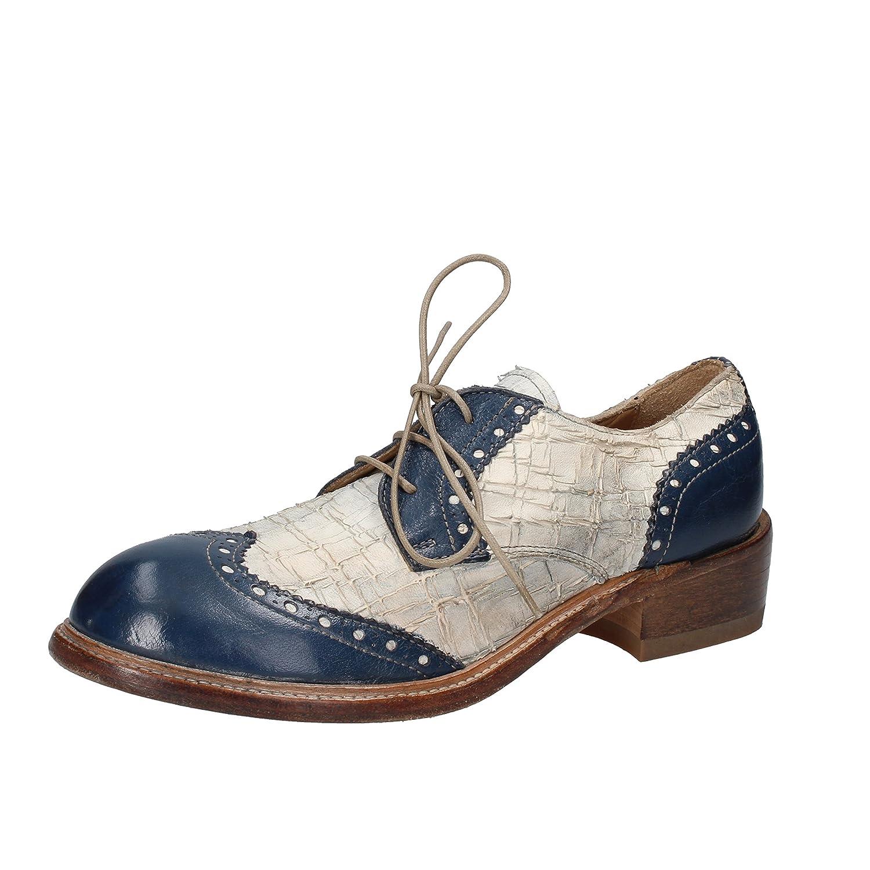 MOMA - Zapatos de cordones de Piel para mujer 37 EU|Azul Marino / Blanco