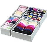 Styleys Fabric Rectangular Shaped Drawer Organizer, Standard (Grey)-Pack of 4