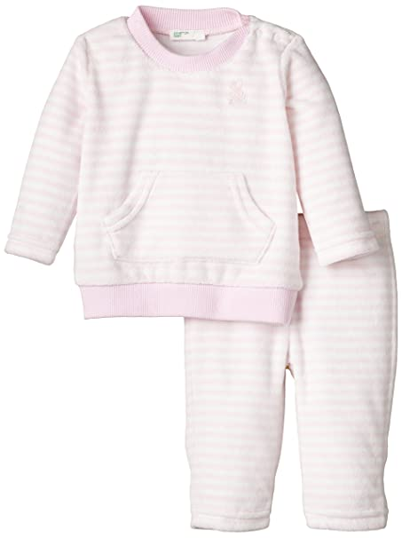 United Colors of Benetton Stipe Velour Tracksuit, Chándal para Bebés, Rosa Palido, 1