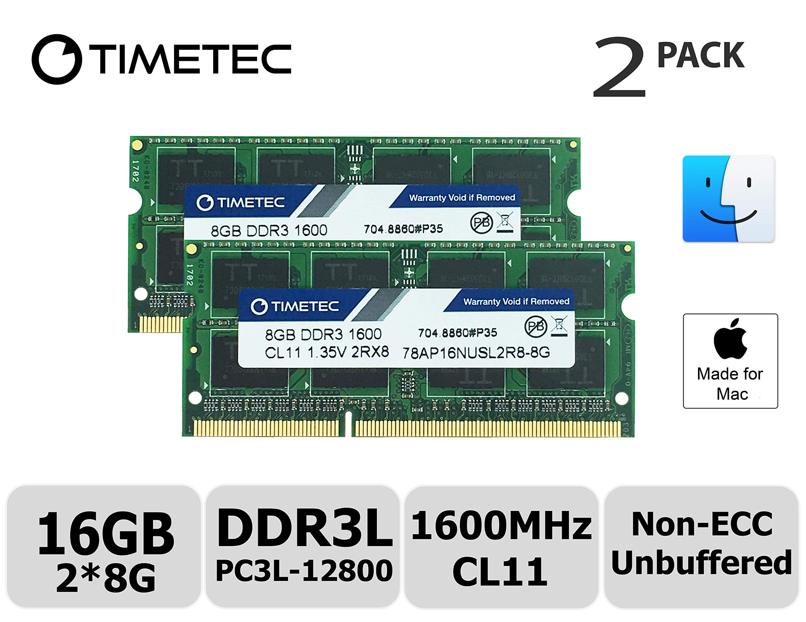 Timetec Hynix IC Apple 16GB Kit (2x8GB) DDR3L 1600MHz PC3L-12800 SODIMM Memory upgrade For MacBook Pro13-inch/15-inch Mid 2012, iMac 21.5-inch Late 2012/ Early/Late 2013(16GB Kit (2x8GB)) by Timetec