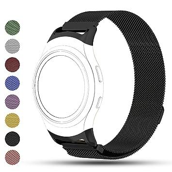 Correa de reemplazo iFeeker para reloj inteligente Samsung Gear S2, cierre magnético de acero inoxidable, SM-R720 R730, color negro: Amazon.es: Deportes y ...