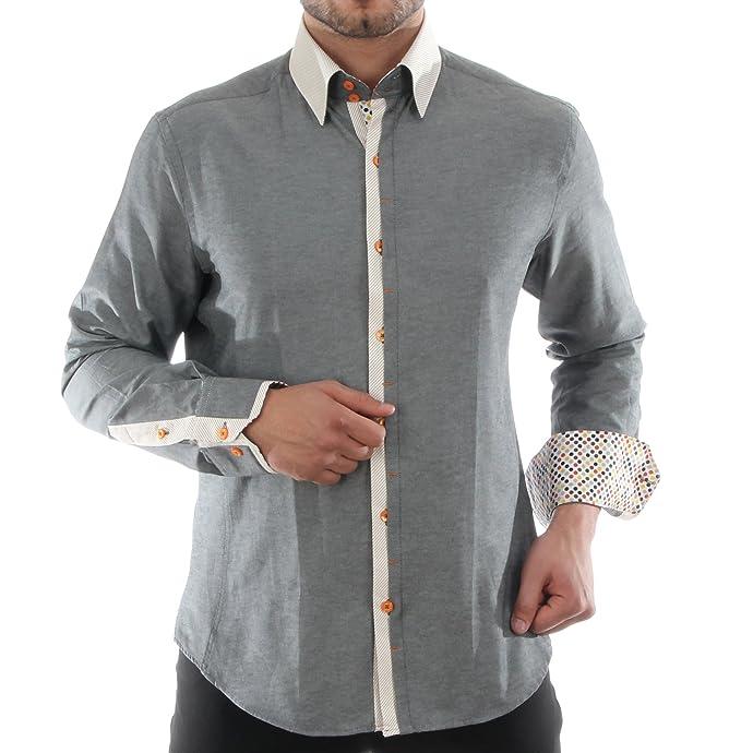 Migliore Uomo Camicia Slim Da Fit QualitàHk Mandel Casual In GrigioPer WE2eDYH9Ib