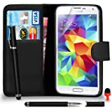 Samsung Galaxy S5 Premium Leather Portefeuille NOIR flip Housse Etui + 2 EN 1 écran bille tactile Stylet + Protecteur & Chiffon SVL6 PAR SHUKAN®, (portefeuille NOIR)