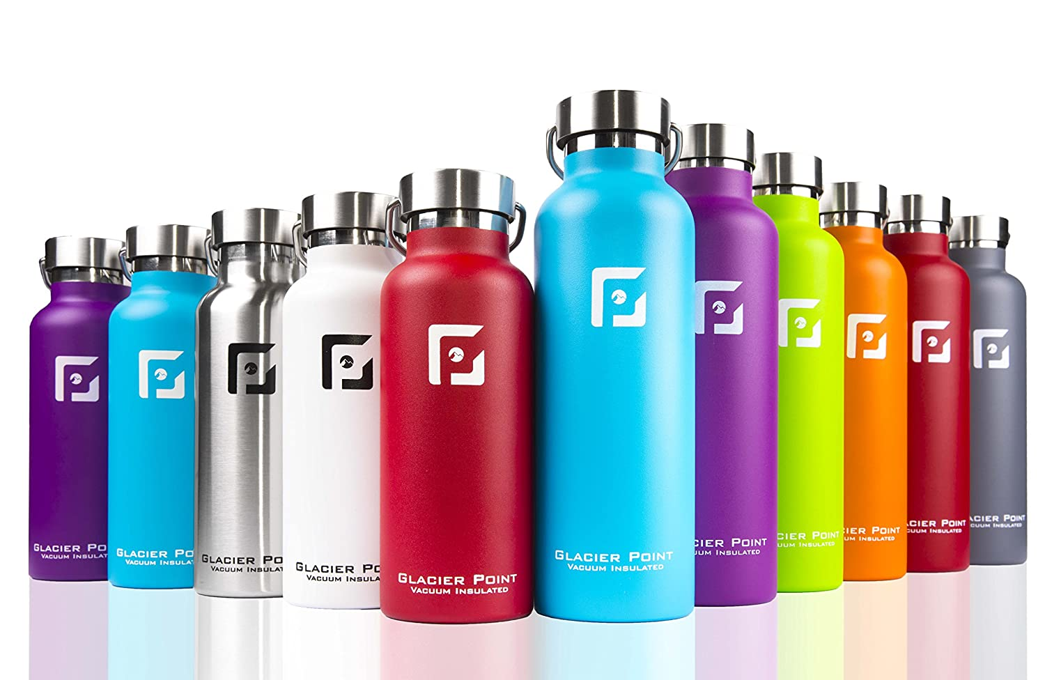 23aa7f9bcf Glacier Point Vacuum Insulated Stainless Steel Water Bottle  (32oz 25oz 17oz) Double Walled Construction, Premium Powder Coating, Leak  Proof, Sweat Proof.