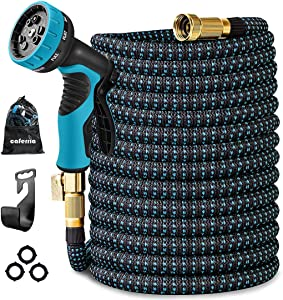 Caferria Garden Hose 100ft Expandable Water Hose Lightweight Flexible Hose Durable Leakproof with 9 Function Nozzle 3/4