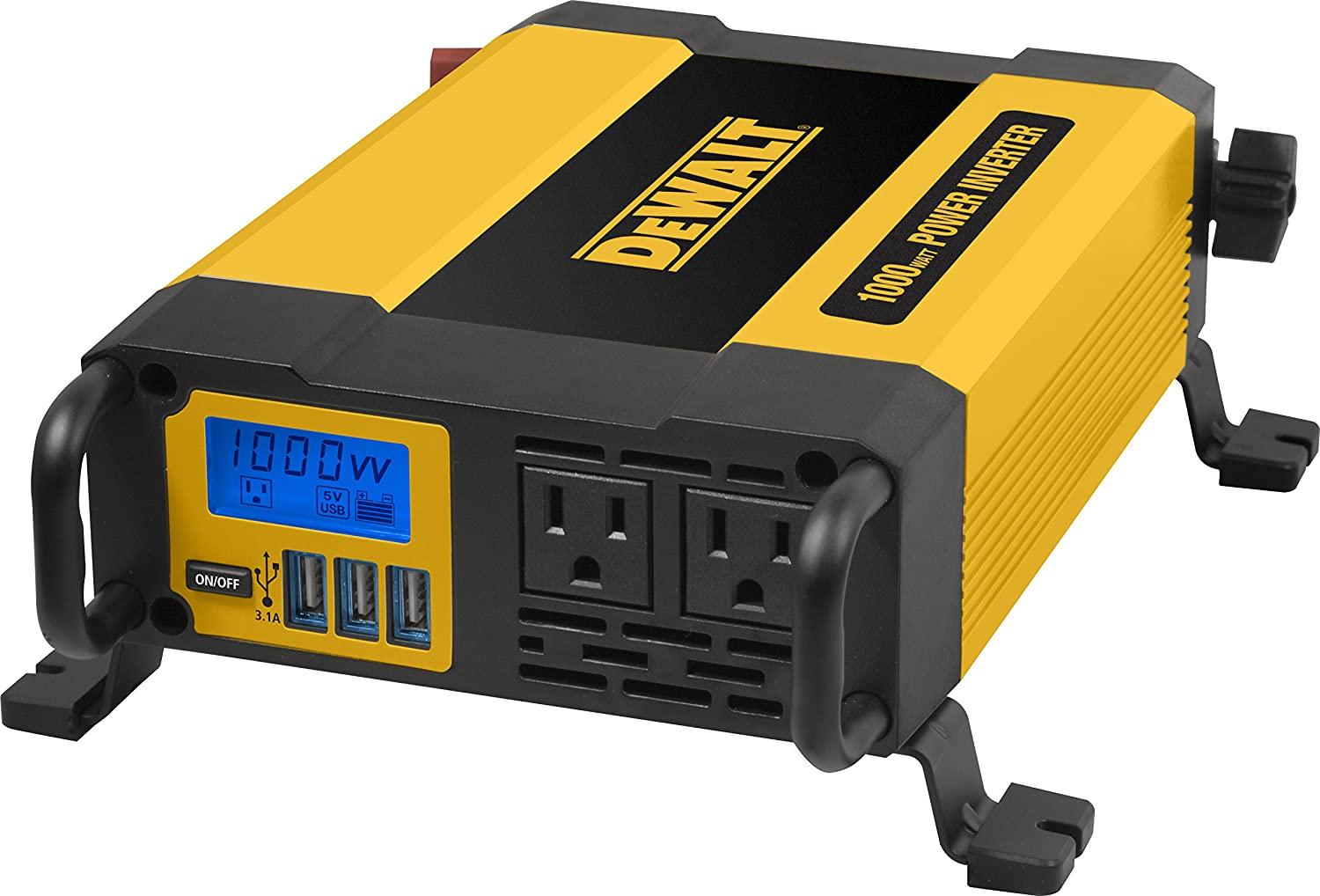 DEWALT DXAEPI1000 Power Inverter with LCD Display: Dual 120V AC outlets, 3.1A USB Ports, Battery Clamps