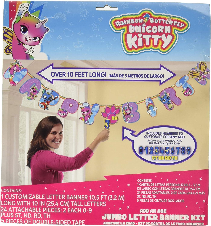 RAINBOW BUTTERFLY UNICORN KITTY JUMBO BANNER ~ Birthday Party Supplies Decorate