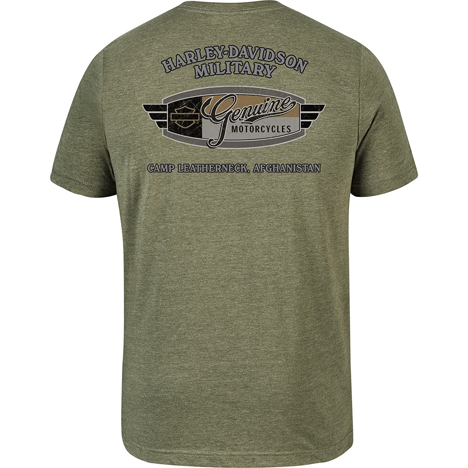 Camp Leatherneck Eagle Decal Mens Lightweight Graphic T-Shirt Harley-Davidson Military