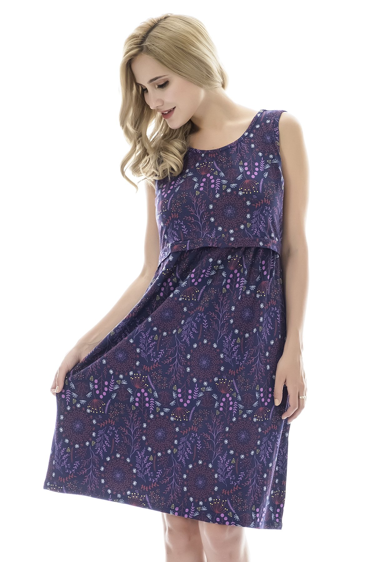 Bearsland Womens Sleeveless Maternity Dress Empire Waist Nursing Breastfeeding Dress Summer,purpletree, X-L