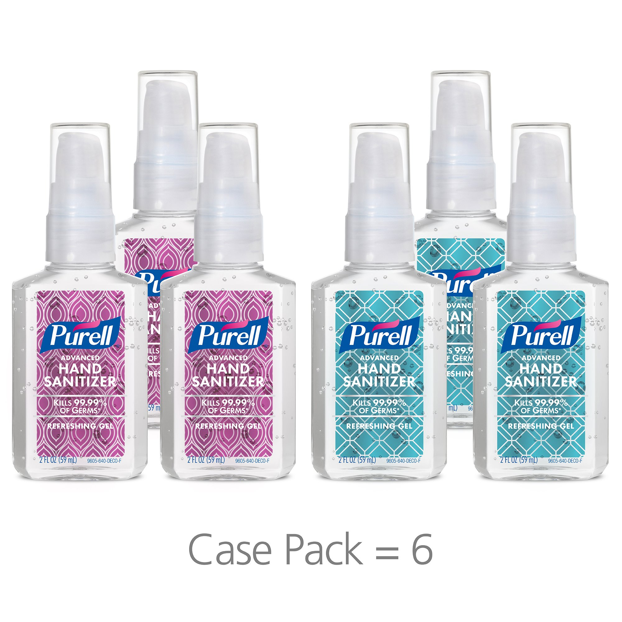 PURELL Advanced Hand Sanitizer Gel - Metallic Foil Decorative Collection, 2 fl oz Portable Pump Bottle (Pack of 6) 9605-04-ECDECO
