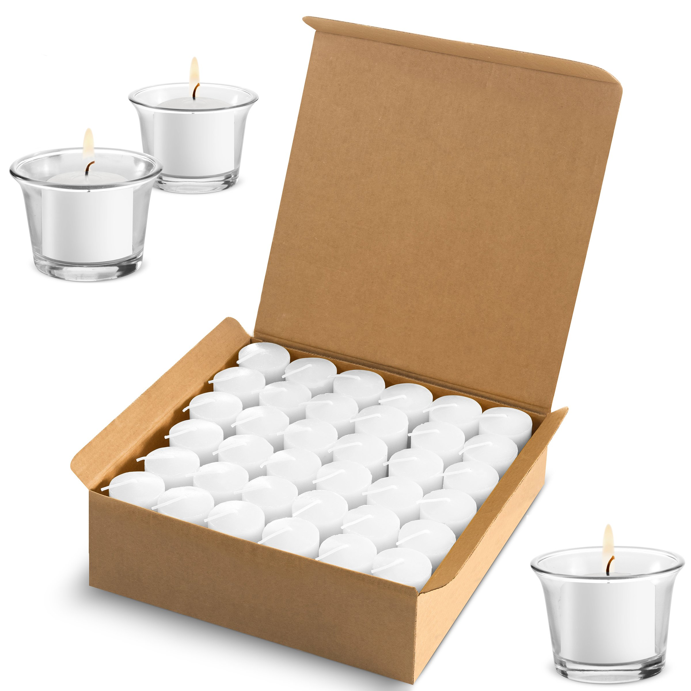 Votive Candles Wedding Dinner, Holiday Home Decoration Unscented 10 Hour Burn - Set of 72 (Clear White) (Glass Votive Holders NOT Included) by Candle Charisma