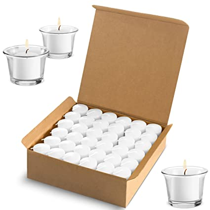 77d39a8462 Amazon.com: Votive Candles Wedding Dinner, Holiday Home Decoration  Unscented 10 Hour Burn - Set of 72 (Clear White) (Glass Votive Holders NOT  Included): ...
