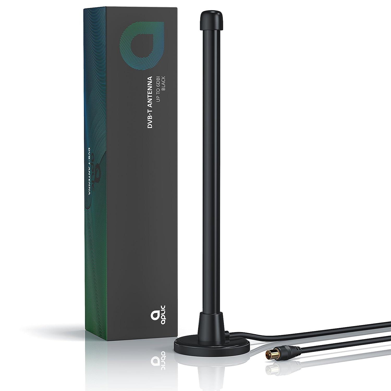Aplic - Antena de TV / DVB-T/T2 digital | Antena HDTV de interior | Ganancia de antena de hasta 6 dBi | Recepción de televisión digital terrestre ...