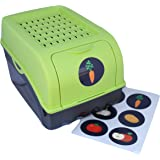 Boîte de conservation + 6 Stickers autocollants pour Pommes de terre, Légumes, Fruits, Oignons, Boîte de rangement en plastique, Volume de 7,7 litres (vert)