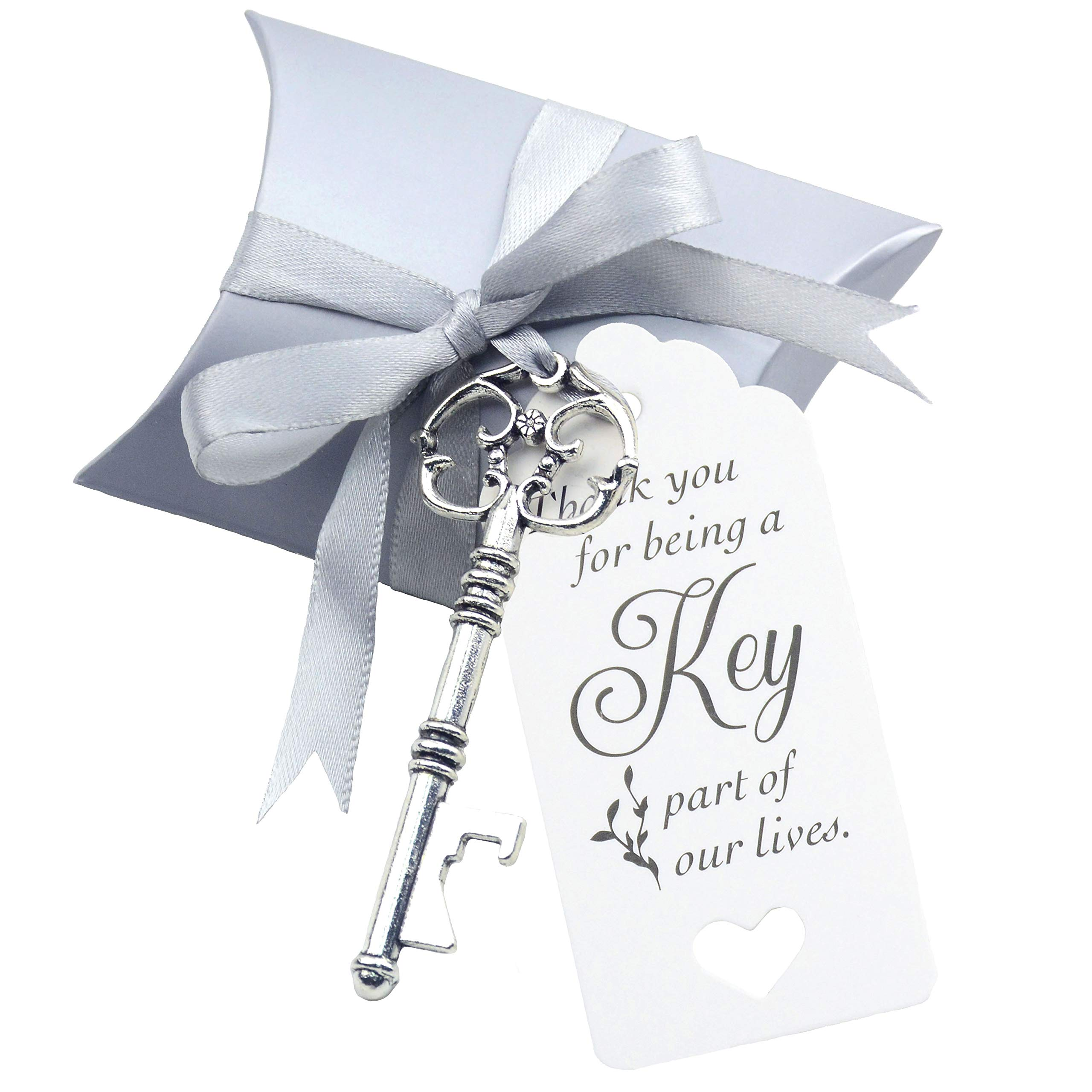 50pcs Wedding Favor Souvenir Gift Set Pillow Candy Box Vintage Skeleton Key Bottle Openers Escort Gift Card Thank You Tag French Ribbon (Antique Silver) by Makhry (Image #1)
