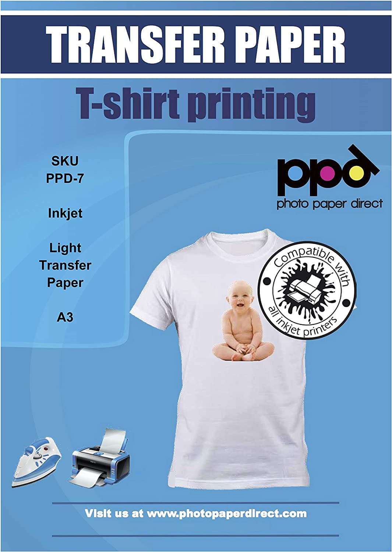 PPD A3 x 10 Hojas de Papel de Transferencia Térmica Premium Para Camisetas, Mascarillas y Tejidos Claros Para Impresoras de Inyección de Tinta Inkjet ...