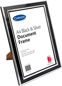 CARVEN QFBLKSILVA4 Document Frame, Black,Silver A4