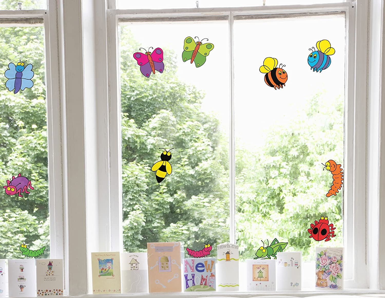 Stickers4 Childrens Happy Bugs Double Sided Kids Window Stickers