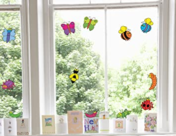Childrens Happy Bugs Double Sided Kids Window Stickers - Window decals custom uk