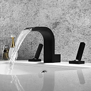 AUXO 3 Holes 2 Handles Widespread Bathroom Sink/Waterfall Faucet Solid Brass Lavatory Mixer Taps in Matte Black