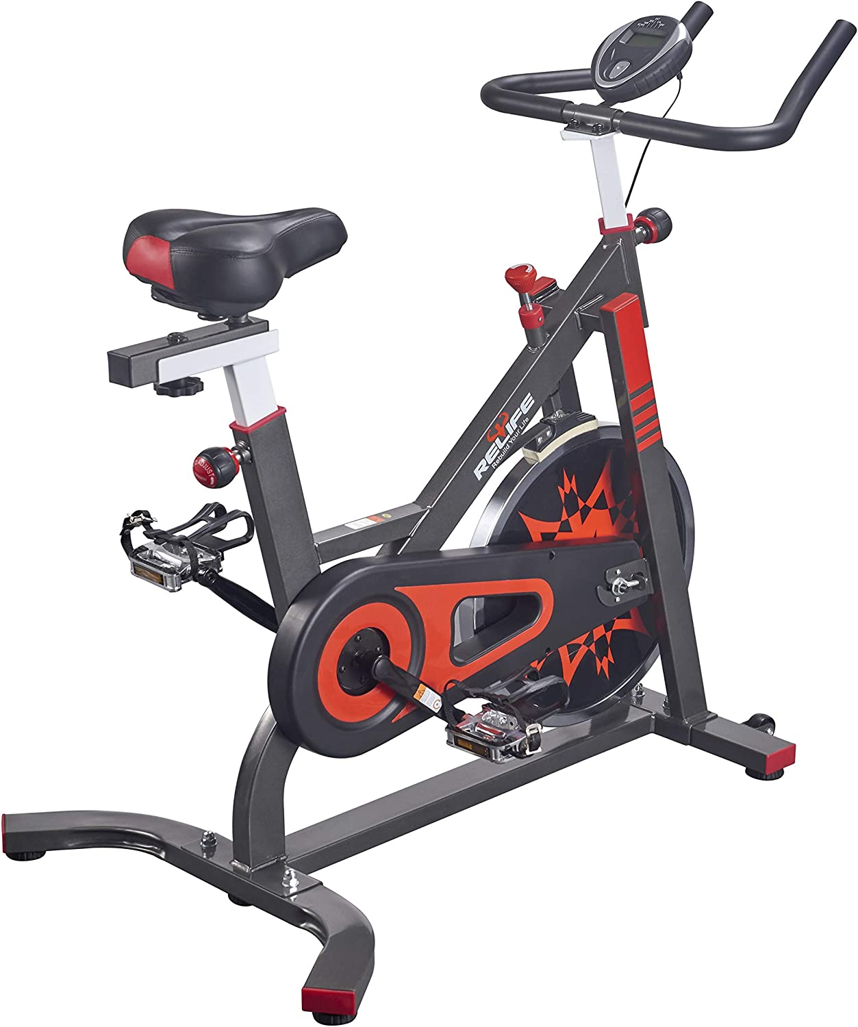 RELIFE REBUILD YOUR LIFE Exercise Bike Indoor Cycling Bicycle Stationary Bikes Cardio Workout Machine Upright Bike Belt Drive Home Gym