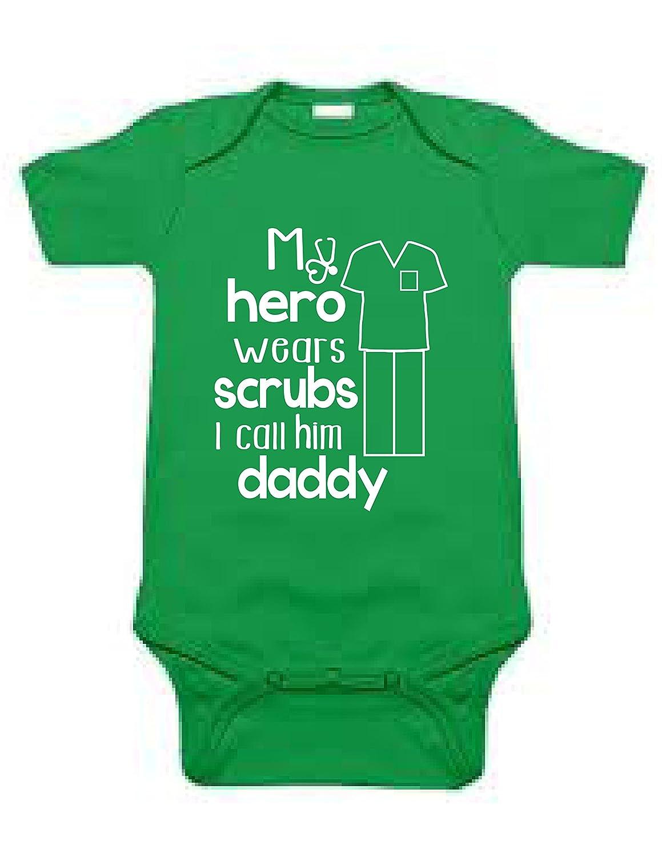 868e19540 Amazon.com: Sod Uniforms My Hero Wears Scrubs Call Him Daddy Funny Bodysuit  Baby Romper: Clothing