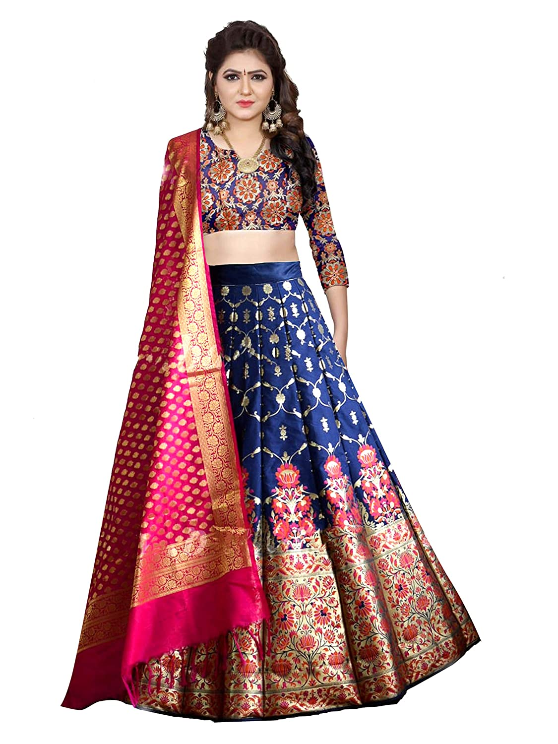 Buy Pujia Mills Women S Jacquard Readymade Lehenga Choli Banarasi Blue Blue X Large At Amazon In