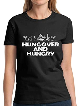 77a76eb9c Vizor Hungover And Hungry T-Shirt Funny Thanksgiving Shirts Ugly Thanksgiving  Tshirts for Women Thanksgiving