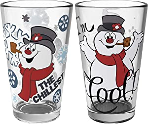 Zak Designs Christmas Collectibles Pint Glasses, 16oz 2 Piece, Frosty the Snowman