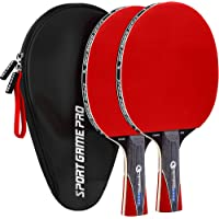 Sport Game Pro Ping Pong Paddle with Killer Spin - Table Tennis Paddle with Comfort Grip 2.0 mm Spunge - Table Tennis Racket Bat with Gift Box (Double red)